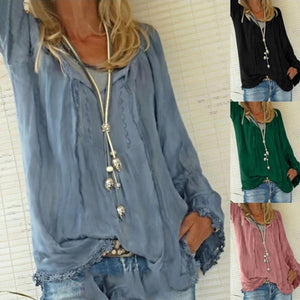 V Neck Lace Up Long Sleeve Plain Casual Blouses