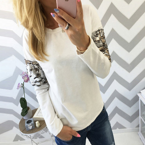 Round Neck Long Sleeve Sequins Patchwork T-Shirts