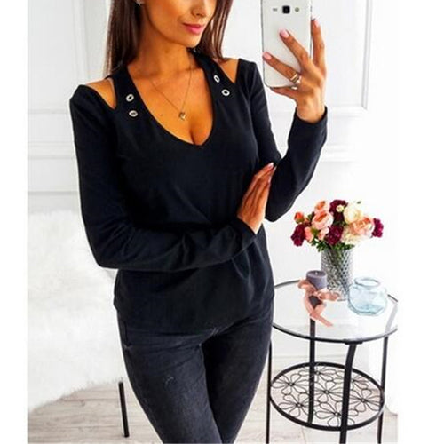 Fashion Sexy V Neck Hollow Out Long Sleeve Plain T-Shirts