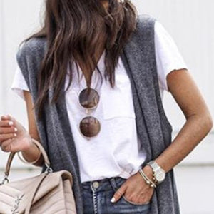 Brief Plain Sleeveless Maxi Cardigans