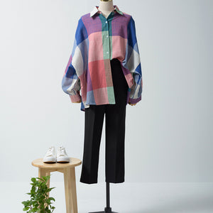Color Block Lantern Sleeve Lapel Casual Blouses