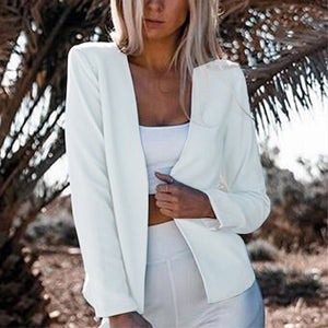 Collarless Long Sleeve Plain Casual Blazers