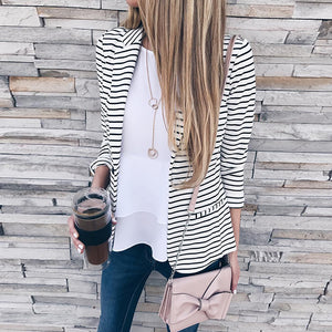 Fashion Lapel Stripes Long Sleeve Blazers