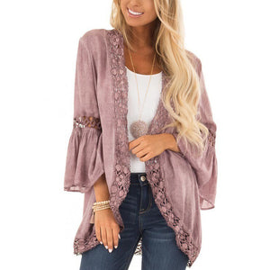 Bell-Sleeve Lace Cardigan