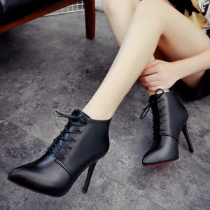 Elegant Stiletto Heel Lace-Up Ankle Boots