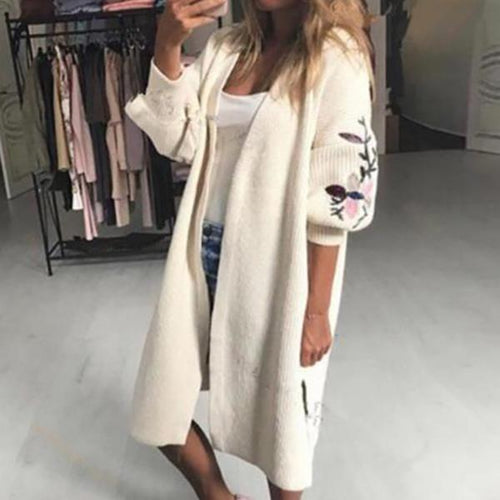 Embroidered Loose Sweater Women's Long Sleeved Cardigan