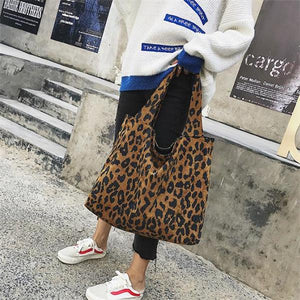 Casual Chic Leather Big Volume Leopard Print One Shoulder Bag