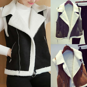 Lapel Zips Pocket Color Block Fleece Lined Waistcoat