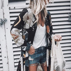 Casual Snap Front  Print Cardigans