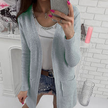 Casual Long Sleeve Pocket Plain Cardigans