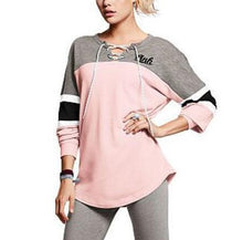 Colorblock Lace-Up Long-Sleeved T-Shirts