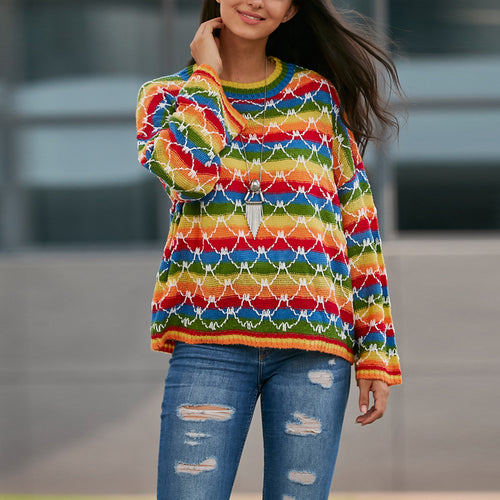 Rainbow Striped Loose Sweater