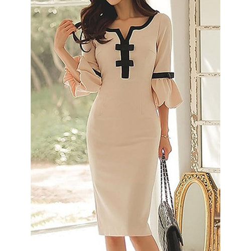 Sweet Heart  Plain  Blend Bodycon Dresses