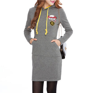 Hooded  Patch Pocket Shift Dress