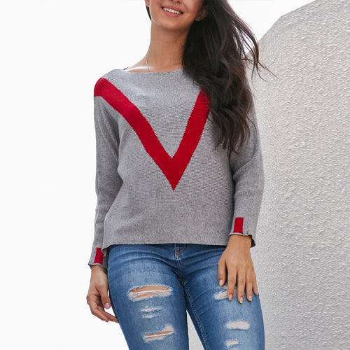 V-Shaped Contrast Color Sweater