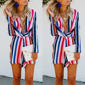 Deep V Neck  Elastic Waist  Striped  Long Sleeve Casual Dresses