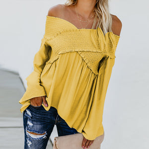 Elastic Off Shoulder Long Flare Sleeve Plain Pleated Loose T-Shirts