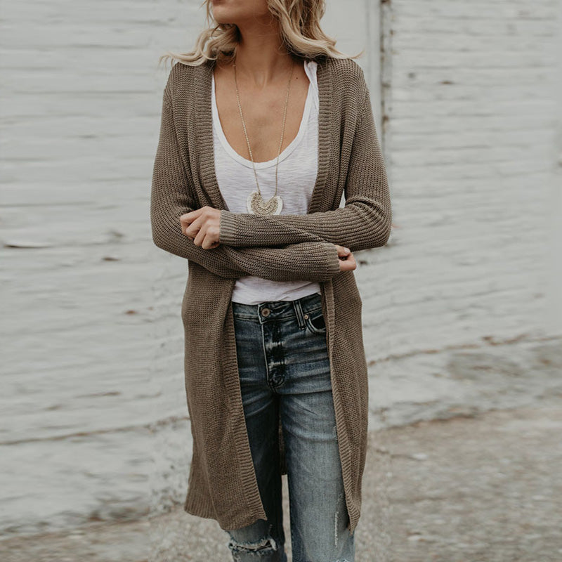 Collarless  Plain Cardigans