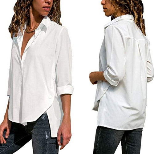 Turn Down Collar  Asymmetric Hem  Plain  Blouses