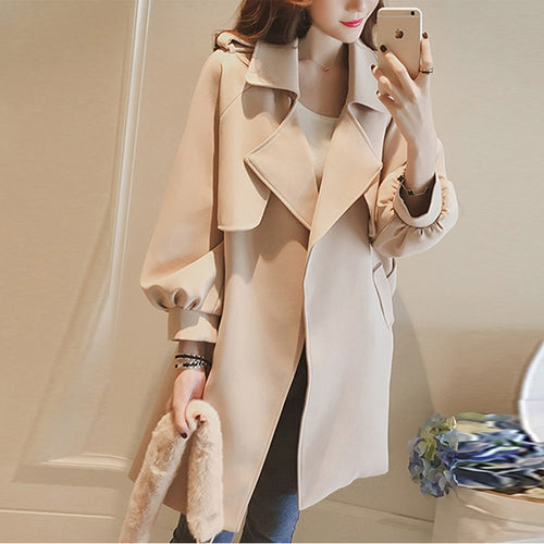 Lapel Belt Plain Puff Sleeve Wrap Trench Coat