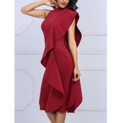 Band Collar  Plain  Blend Bodycon Dresses