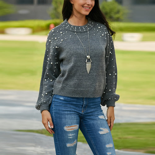 Round Neck Pearl Decoration Long Sleeve Sweater