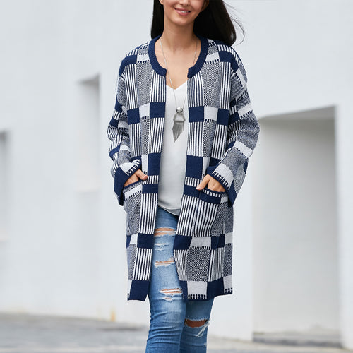 Geometric Plaid Round Neck Knit Cardigan
