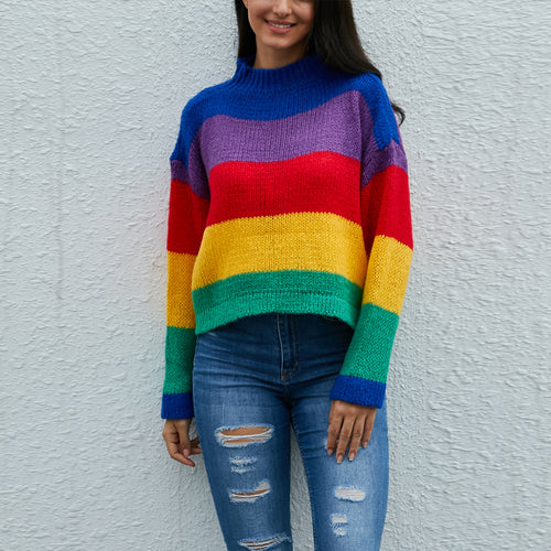 Knitted Colorful Striped Sweater