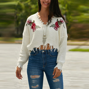 V-Neck Embroidery Flower Sweater