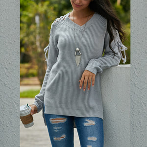 Round Neck Long Shoulder Strap Sweater