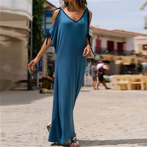 V Necck Hollow Out Half Sleeve Lace Up Maxi Dress