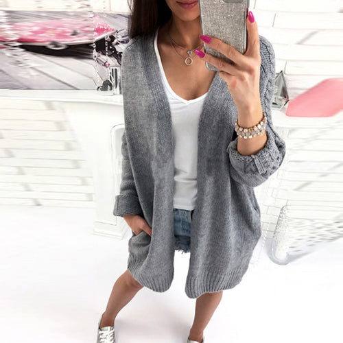 Plain Knit Batwing Sleeve Cardigans