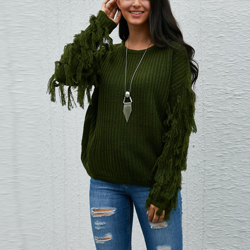 Solid Color Round Neck Cuff Tassel Sweater