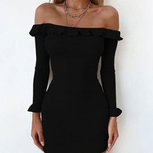 Elegant Off Shoulder Long Sleeve Knitting Bodycon Dresses