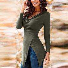 Cowl Neck  Asymmetric Hem  Plain T-Shirts