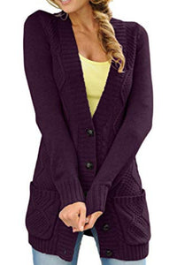 Deep V Neck  Single Breasted  Plain Cardigans