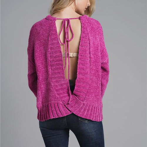 Sexy Round Neck Long Sleeve Backless Sweater