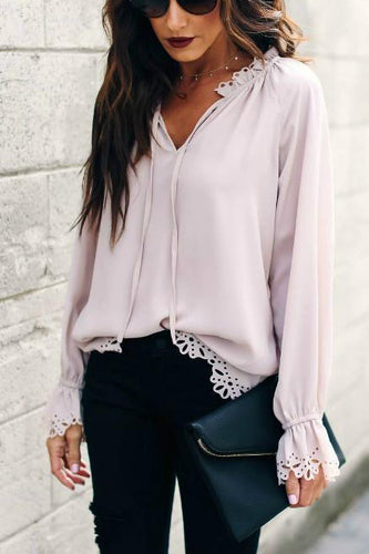 Sexy Sweet V Collar Plain Lace Border Hollow Chiffon Shirt