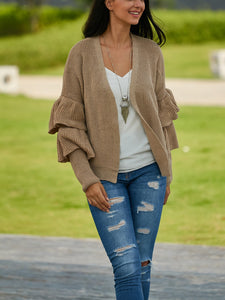 Double-Layered Ruffled Sleeves Cardigans