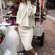 Elegant Plain Sweater Skirts Knitting Suits