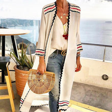 Collarless Printed Long Sleeve Cardigan