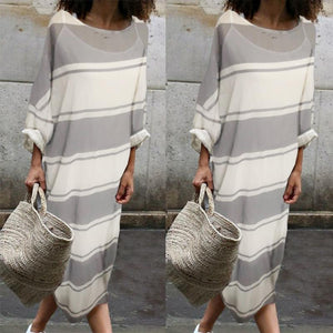 Cotton Round-Neck Stripe Two Pieces Maxi Dress