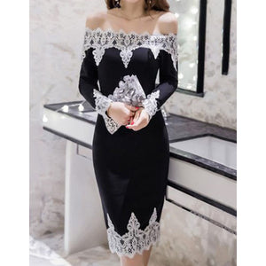 Off Shoulder Decorative Lace Bodycon Dresses