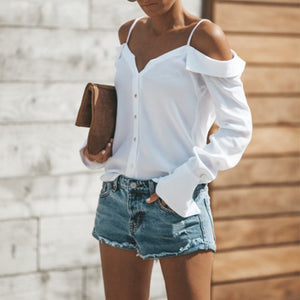 Sexy Off Shoulder Plain Long Sleeve Straps Blouse
