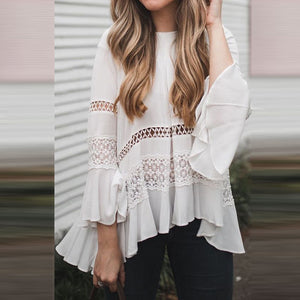 Round Collar Lace Stitching Horn Sleeve T-Shirt