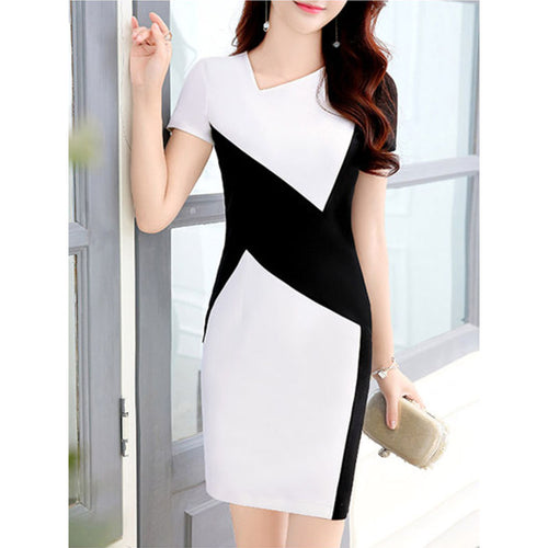 Asymmetric Neck  Color Block Bodycon Dresses