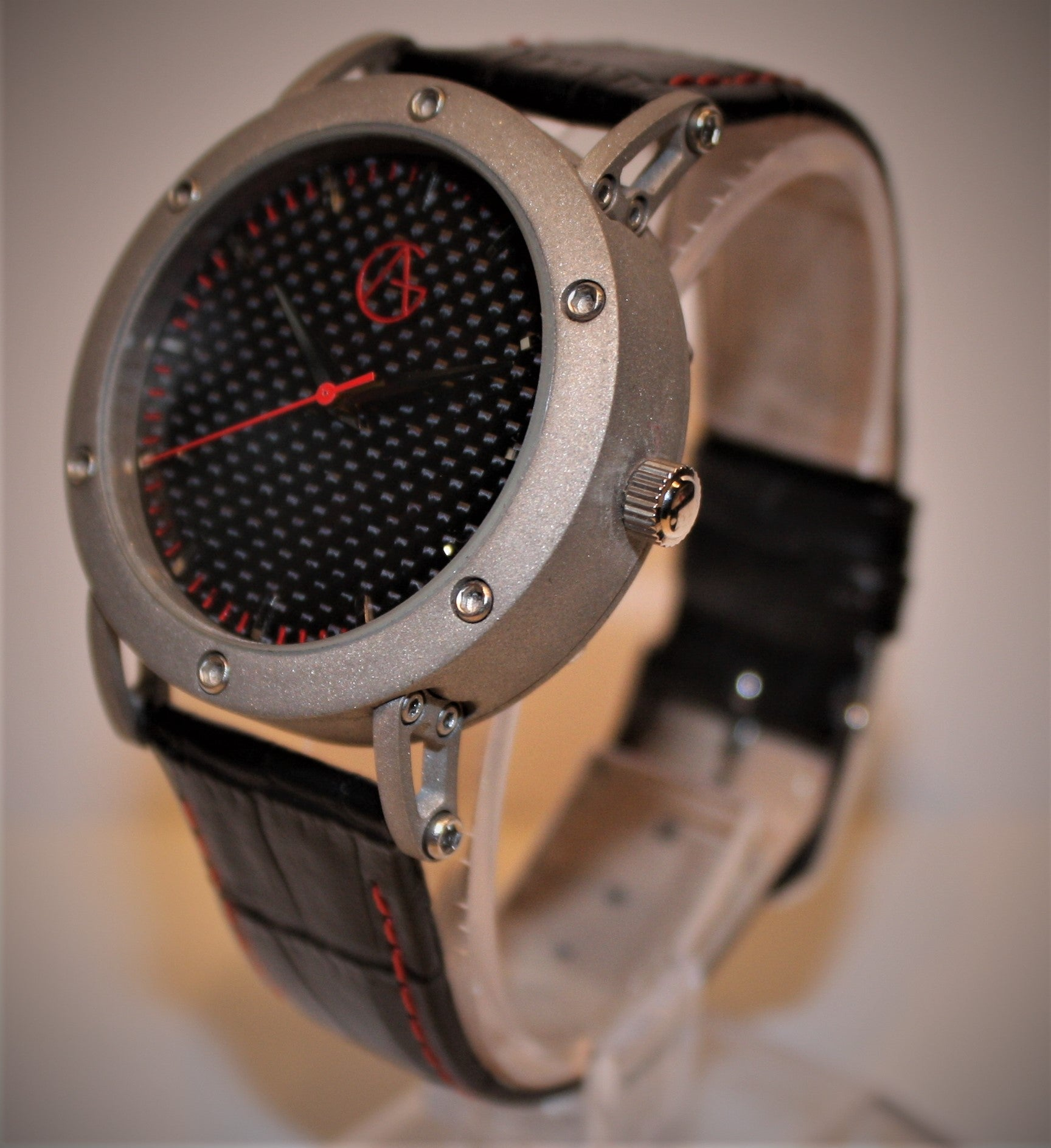 Classic Sport ' Carbon Red' Real Carbon Fibre Dial Leather Rally Strap