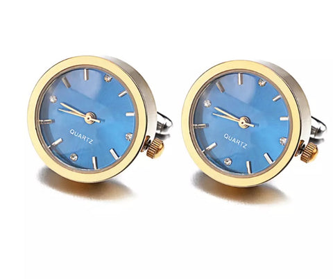 Stylish Working Round Watch Cuff links Gold coloured with Blue Dial