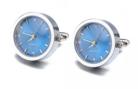 Stylish Working Round Watch Cuff links Stainless steel with Blue Dial