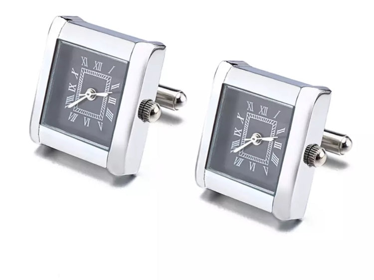 Stylish Working Square Watch Cuff links Stainless steel with Black Dial